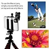 CamRah iPhone Camera Lens Kit with 3 Universal Lenses, Fisheye Wide Angle and Macro, 2 Lens Clips, Octopus Tripod, storage bag and photo tips