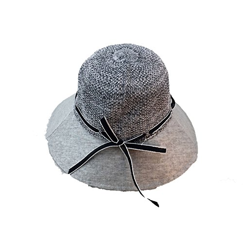 (Contrast Linen Knit Large Hat Summer Breathable Beach Hat Collapsible Fisherman Hat,Gray,M)