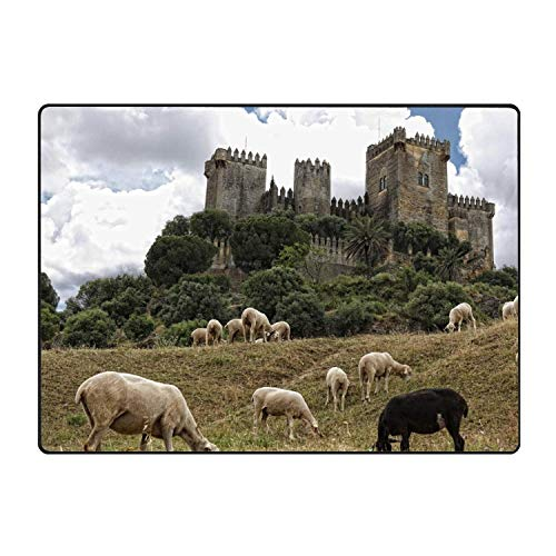 Puyrtdfs Collection Rectangular Welcome Doormat (Machine-Washable/Non-Slip) Sheep Andalusia Cordoba Almodovar Castle Indoor Rug