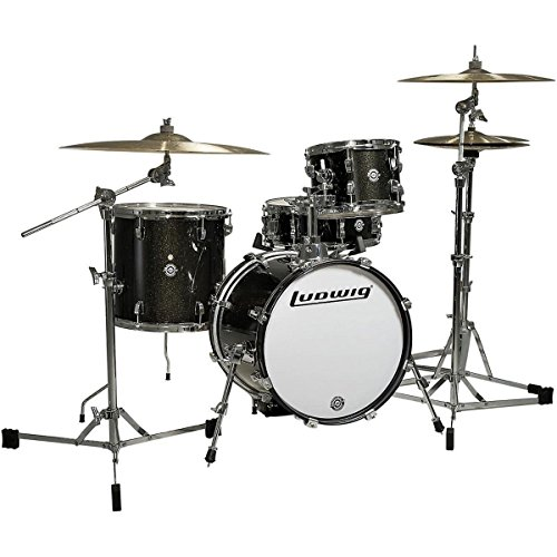 Ludwig Breakbeats by Questlove 4-Piece Black Sparkle Drum Set Bundle with Vic Firth American Classic 5A Drumsticks and FastTrack Drum Method (Book 1)