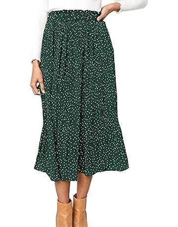 1dea6e8d4b RichCoco Women's Casual High Elastic Waist A Line Print Pleated Pockets  Vintage Dresses Polka Dot Midi