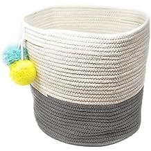 Large Cotton Rope Basket Decorative Cloth Storage Bin Foldable Fabric Cube Laundry Hamper White Grey
