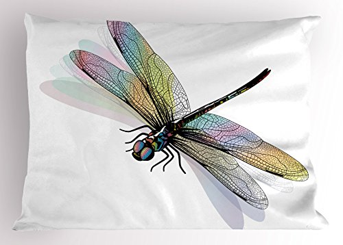 Dragonfly Pillow Sham by Ambesonne, Shady Dragonfly Pattern with Ornate Lace Style Spiritual Beauty Wings Design, Decorative Standard Size Printed Pillowcase, 26 X 20 Inches, (Style Dragonfly Pattern)