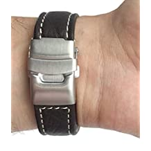 22mm Brown Genuine Leather Watch Strap Band with Deployment Clasp Buckle and White Stitching