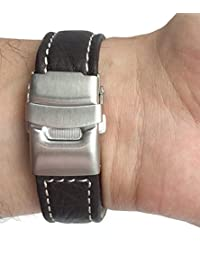 20mm Brown Genuine Leather Watch Strap Band with Deployment Clasp Buckle and White Stitching