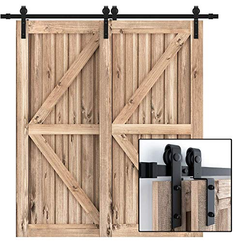"WINSOON 5FT Single Rail Bypass Barn Door Hardware Double Doors Kit, Heavy Duty Sliding One Track Antique Roller for Cabinet Closet Fit Double 30"" Wide Door"