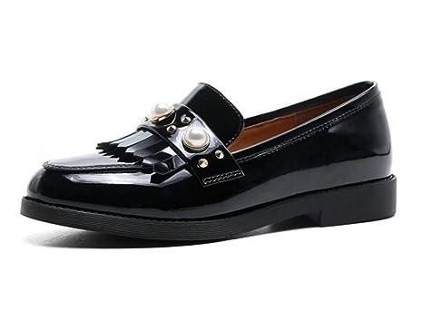 Zapatos de mujer Patente genuina Perla de cuero Borla Plano Mocasines Tamaño 36 a 39 ,