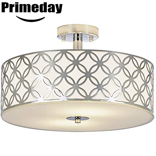 SOTTAE Luxurious Living Room Bedroom Ceiling lamp Creamy White Glass Diffuser Chrome Finish Flush Mount Ceiling Light,Modern Ceiling Light Fixture 13