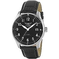AVIATOR AVW6073G312 F-Series Men's Vintage Flight Pilot Simple Date Quartz Watch Black Leather Strap Wristwatch