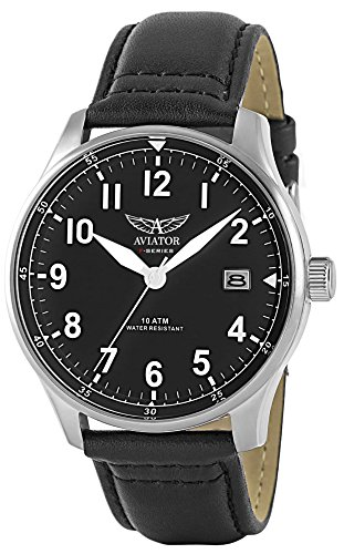 Aviator F-Series Men Vintage Watch - World War II Pilot Design with Quartz Movement - 100 Meters Waterproof Wrist Watch with Ecological Leather Strap - Military Inspired Mens Watch, Russian Design ()