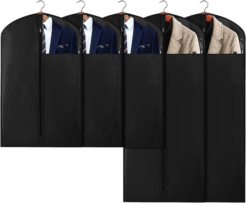 dunkelgrau 5er-Set 2 Gr/ö/ßen f/ür unterschiedlich lange Kleidungsst/ücke AMX Garderobenschutzh/üllen mit klarem Fenster f/ür Winterkleidung // langes Kleid // Uniform // Anz/üge