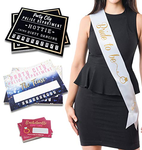 Novelty Bachelorette Party Supplies (Bachelorette Party Supplies Kit - Set of 25 Dare Cards, 20 Mugshot Signs & One 33 Inch Bachelorette Sash with Goldtone Pin - Girls Night Out Party Accessories & Photo)