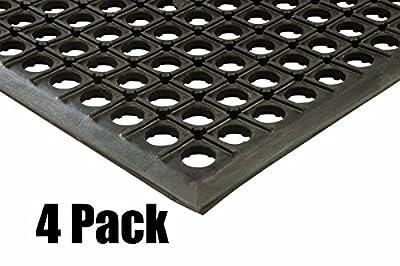 "(4) Erie Tools 3x5 Rubber Drainage Floor Mat 36"" x 60"" Anti-Fatigue Anti-slip"