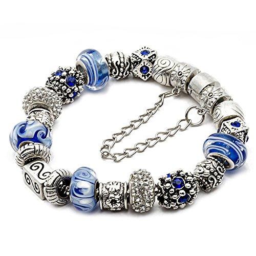 - RUBYCA Silver Tone European Charm Bracelet 7.9
