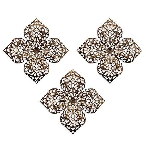 3 Vintaj Clover Petal Natural Brass F410, 59mm--Filigree stamping. Jewelry Making and Scrapbooking - Filigree Stamping