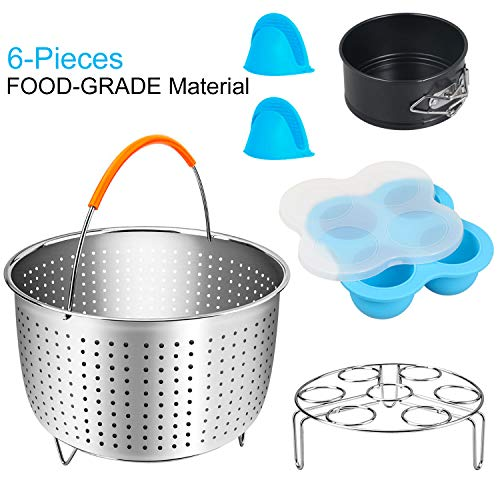 STYDDI 6-Pieces Electric Pressure Cooker Accessories Set Compatible with Instant Pot Min 3 Quart, Includes Steamer Basket, Silicone Egg Bites Molds, 4inch Springform Pan, Egg Steamer Rack, Mini Mitts