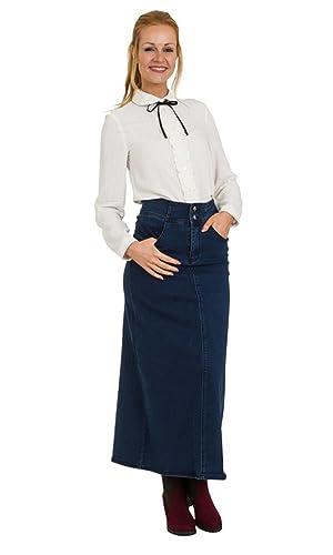 falda de mezclilla jean Larga – Azul Oscuro Falda vaquera larga SONIA