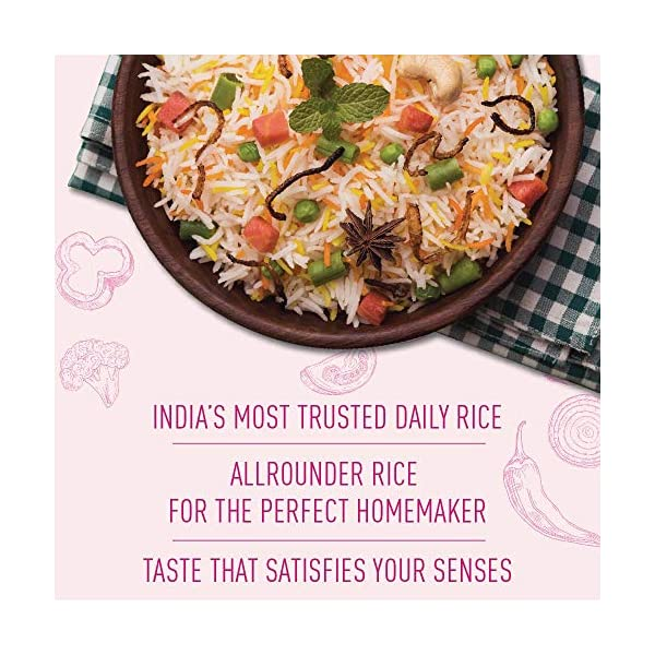 INDIA GATE Feast Rozanna Aged Basmati Rice   Everyday Rice, 5 Kg Pack 2021 June India Gate Feast Rozzana Rice is aged Basmati rice for daily use Has Pearlescent white grains that do not stick to each other or break when cooked Has Slender grains with good elongation