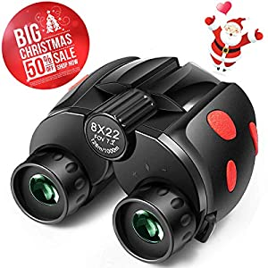 Binoculars for Kids, 8x22 Compact Binoculars for Kids and Adults, Folding Spotting Telescope for Bird Watching, Outdoor Camping and Sports Games,Best Gift for Boys,Girls (2018 New)