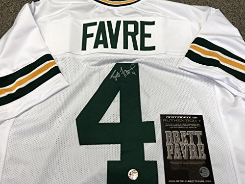 Brett Favre Autographed Signed Green Bay Packers Custom White Jersey Favre COA & Hologram W/Photo From Signing