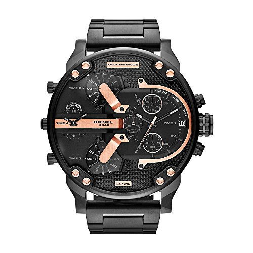 Diesel Chronograph Watch (Diesel Men's Mr Daddy 2.0 Quartz Stainless Steel Chronograph Watch, Color: Black (Model: DZ7312))