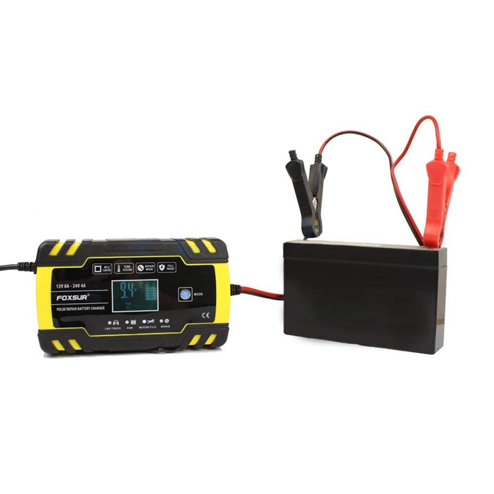 Cargador de Bater/ía Coche Autom/ático Inteligente con Pantalla LCD y Protecciones para Autom/óviles Barco Motos RVs ATVs KKmoon Cargador de Bater/ía 12V 24V