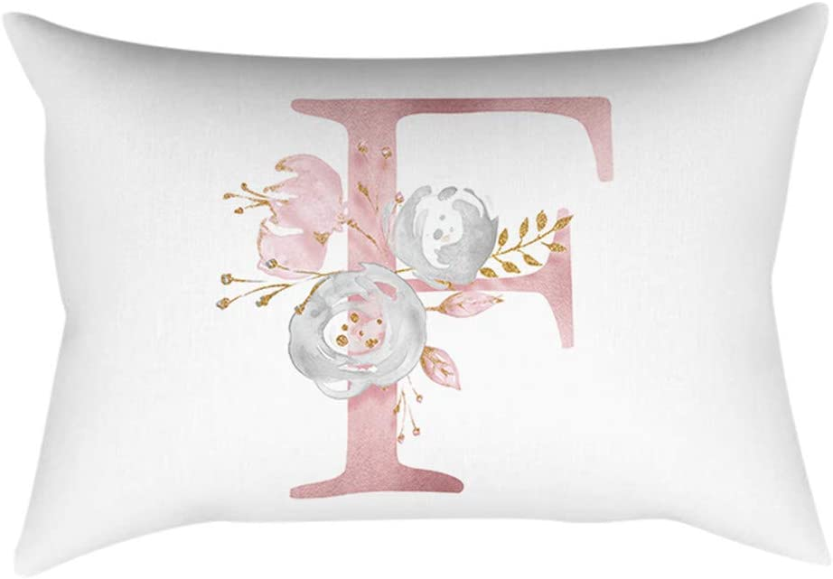 Lettere in Polvere Oro Rosa Cuscino Decorativo Camera da Letto Federa per Cuscino Casa Cuscino Divano Abbraccio Federa Decorazione Federe Copricuscini 30X50Cm