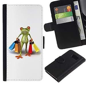 UberTech / Samsung Galaxy S6 SM-G920 / Shopping Clothes Shop Frog White / Cuero PU Delgado caso Billetera cubierta Shell Armor Funda Case Cover Wallet Credit Card