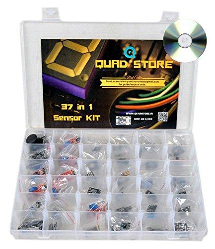 QuadStore 37 in 1 Sensor Modules Kit for Arduino Uno R3, Mega 2560, Nano and Raspberry with box. Source Code and Guide for Arduino & Raspberry included in DVD