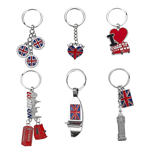 London Keychains - 6-Pack Souvenir Key Rings, 6 Assorted Designs Including Double-Decker Bus, Red Telephone Booth, Big Ben, and UK Flag, Silver, Red and Blue (England London Houses)