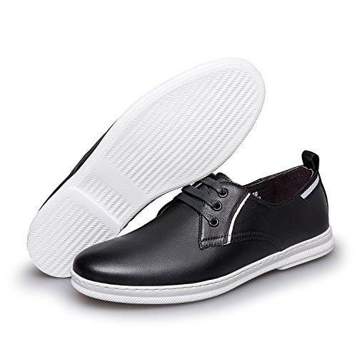 Zro Heren Classic Lederen Oxford Flats Schoenen Lace Up Zwart