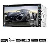 "Efitty 7"" HD In Dash 2 Din Touch Screen Car Stereo CD DVD Player Bluetooth USB SD AM FM TV Radio Reciver Steering Wheel Control Function Support AV Input/Output and Rear View Camera"