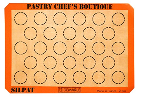 Sasa Demarle Silpat MACARONS Premium Non-Stick Silicone Baking Mat, Big Sheet Pan Size (2/3 Sheet Pan), 13.58''x 19.5'' for a 15''x21'' Sheet Pan - 28 Circles - by Pastry Chef's Boutique (Silpat Silicone)