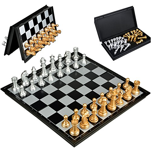 Travel Chess Sets Magnetic Folding Board Game for Kids Children Adults Beginners,12.6x12.6inches by UB Toys