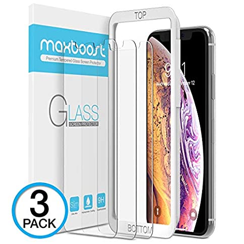 - 513V2lbn QL - Maxboost Screen Protector for Apple iPhone Xs & iPhone X (Clear, 3 Packs) 0.25mm iPhone Xs/X Tempered Glass Screen Protector with Advanced Clarity [3D Touch] Work with Most Case 99% Touch Accurate