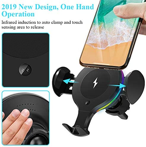 Wireless Car Charger Mount, KNGUVTH Auto Clamping Car Wireless Charger 10W 7.5W Qi Fast Charging Car Phone Holder Air Vent Compatible with iPhone 11 Pro Max Xs X XR 8 , Samsung S10 S10 S9 S9 S8 S8