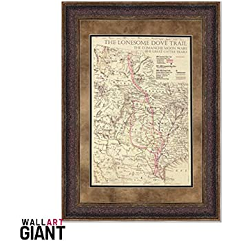 36f4766251241 Wall Art Giant ANTIQUE AND HISTORIC MAPS - LONESOME DOVE TRAIL MAP - DOUBLE  MAT - 25X31 INCHES