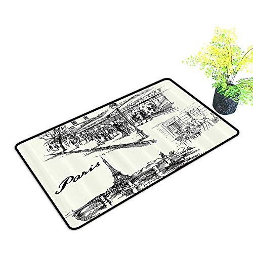 Outdoor/Indoor Mat Paris Sketch Style Cafe Restaurant Landmark Canal Boat Streetlamp Retro Waterproof and Easy Clean W29 x H17 INCH