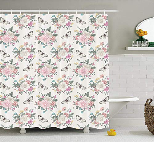 Nyngei Shabby Chic Shower Curtain Peonies Sweet Peas Roses Bouquet and Butterflies Pastel Tones Bridal Theme Fabric Bathroom Decor Set with Hooks 70.8x70.8in Long Pink Green