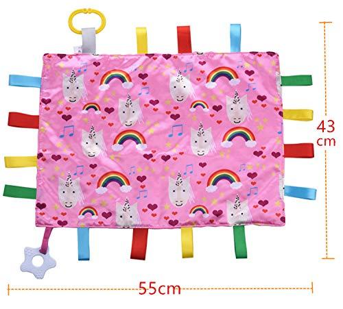 Baby Sensory Crinkle /& Teething Square Lovey Toy Baby Security Blanket Soft /& Soothing Toddler Comfort Blanket Tag Blanket