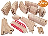 Wooden Train Tracks 56 Pcs - Deluxe Set Fits Thomas, Brio, IKEA, Chuggington, Imaginarium, Melissa and Doug - Best Gifts for Kids Toddler Boys and Girls