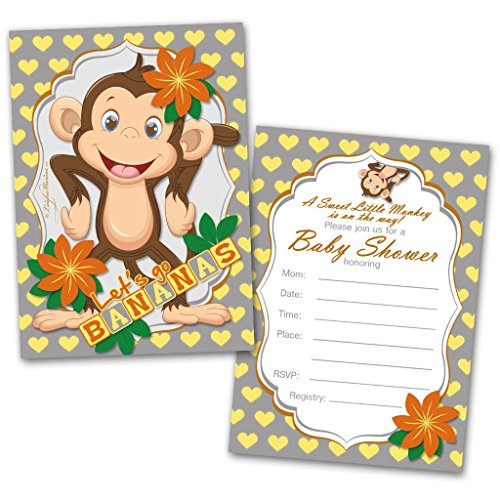 Baby Shower Invitation Cards | 20 Cards with Envelopes | Let's go Bananas | Flat Style | Colorful Design | Party Invitations | Unisex Baby Shower Invitations | Baby Shower (Flat Card Baby Shower Invitations)