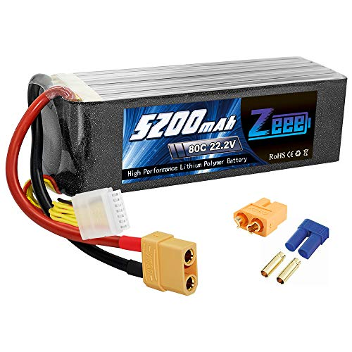 Zeee Graphene 22.2V 5200mAh 80C 6S Lipo Battery with XT90(Upgrade XT60/EC5 Plug) for DJI Airplane RC Quadcopter Helicopter Car Truck Boat Hobby