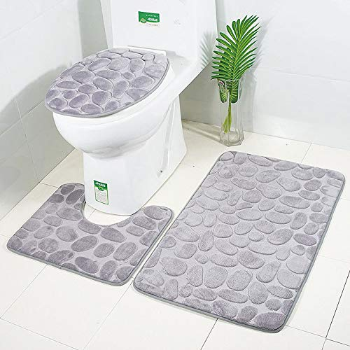 Bathroom Rugs and Mats Sets Bathroom Rugs Sets 3 pcs Bath Rugs for Bathroom Washable U-Shaped Contour Rug, Mat, Lid Cover (Price Half Rugs)