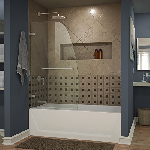 DreamLine Aqua Uno 34 in. W x 58 in. H Frameless Hinged Tub Door in Brushed Nickel, SHDR-3534586-04 ()