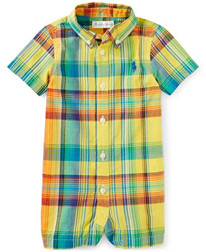 (Ralph Lauren Baby Boys Madras Plaid Cotton Shortall Yellow Multi (6 Months))