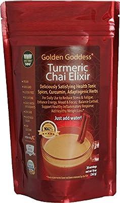 Golden Goddess Turmeric Chai Elixir – Delicious Gourmet Vegan Instant Beverage Mix, Award-Winning Best Supplement for Weight Loss + Stress Relief + Cortisol Manager + Adrenal Support