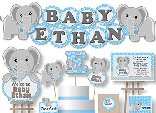 Personalized Blue Elephant Baby Shower or Birthday Party Decorations for Boy - Banner with Optional Cake Topper, Centerpiece, Sign, Favor Tags or Stickers, Thank Yous - Handmade in USA - -