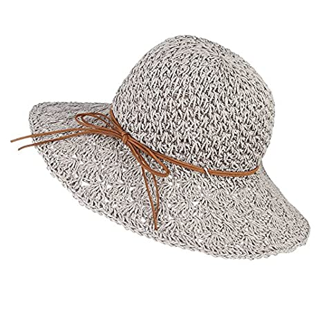 6f6b60ab5d6 Amazon.com   ALWLj Handmade Crochet Women Summer Hats Wide Brim Straw Hat  With Bowknot Floppy Foldable Sun Hat Lady s Beach Cap   Sports   Outdoors