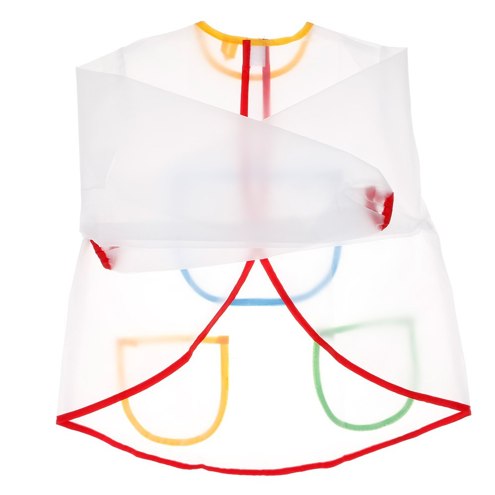 ?Enfants imperméable long manche tablier 3 poches sac peinture tablier GGG